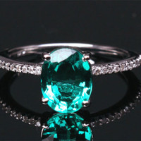 Oval Emerald Engagement Ring Pave Diamond Wedding 14k White Gold 7x9mm