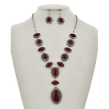 Red Turquoise Necklace and Earring Set