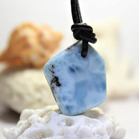 Larimar Sky Rocks Surfer Pendant leather necklace rustic slab dolphin stone drilled gemstone bead bohemian hippie beach ooak