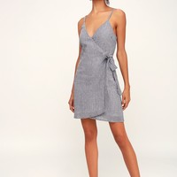 Fornillo Beach Grey Striped Wrap Dress