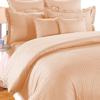 PEACH Stripe Duvet Cover and Fitted Sheet Set 4 pc, Egyptian Cotton Bedding 1000 Thread Count in All Sizes