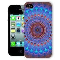 ChiChiC Iphone Case, i phone 4 4g 4s case,Iphone4 iphone4g iphone4s covers, plastic cases back cover skin protector,geometric blue with brown mandala