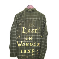 Lost in Wonderland Shirt in Green Plaid Flannel