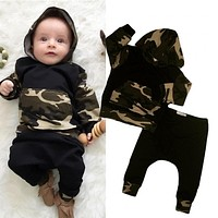 Toddler Hooded Tops Warm Long Pants Outfits Set Clothing Bay Boy Girl Army Green Tops Newborn Baby Boys Clothes Set