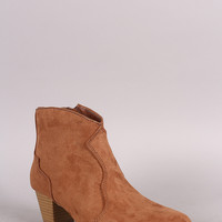 Qupid Suede Pointy Toe Chunky Heeled Booties