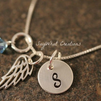 Sterling Silver Angel Wing Charm Necklace with Mini Hand Stamped Initial and Birthstone