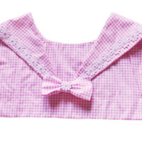 Strawberry Skies — RTS - Gingham Daisy Collar