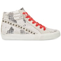 Steve Madden Kenzie - Ivory Multi Red Lace High Top Sneaker