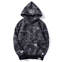 Bape Aape Autumn And Winter New Fashion Camouflage Women Men Hooded Long Sleeve Sweater Top Black