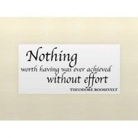 NOTHING WORTH HAVING WAS EVER ACHIEVED WITHOUT EFFORT Vinyl wall lettering st...
