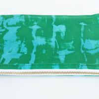 Abstract Blue And Green Zipper Pouch With Blood Orange Mottled Lining And White And Brass Metal Zipper