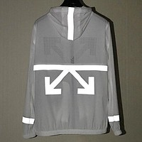 Off White Fashion New Reflective Arrow Print Hooded Long Sleeve Coat Windbreaker White