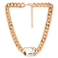 FOREVER 21 Faux Gem Statement Necklace Gold/Clear One