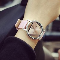 Fashion Hollow Triangle Women Quartz Watches Simple Novelty And Individualism Creative Wrist Watch Leather Clock