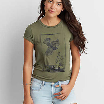 AEO Soft & Sexy Graphic T-Shirt, Fatigue Olive