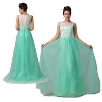2015 SEXY Women Applique Long Formal Lace Cocktail Bridesmaid Evening Prom Dress