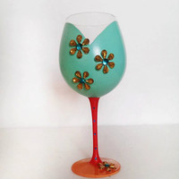 Sunny - light teal wine glass - acrylic flowers - 60s inspired - 20 oz