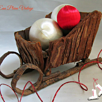 Primitive Rustic Antique Wood Sleigh Christmas Holiday Table Decor Handmade