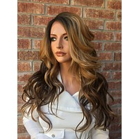 Chestnut Honey Blonde Balayage Human Hair Blend Multi Parting  Lace Front Wig  22""