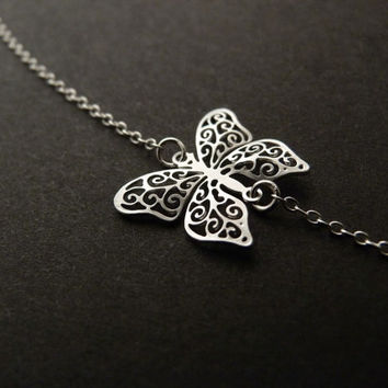 Sideways Butterfly Necklace, Filigree Charm, Sterling Silver Chain, Jewelry Gift