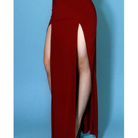 Milan double slit simple maxi skirt