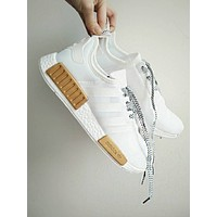 """Women Men """"Adidas"""" NMD Boots Casual Sports Shoes White-Gold I"""