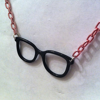 Black glasses frames with pink chain ,geekery geek jewelry