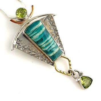 Amazonite & Peridot Sterling Silver Three Tone Pendant