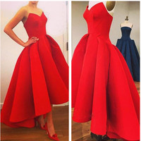 Red Strapless High Waisted Pleated Dress