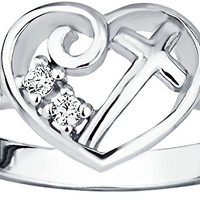 Christian Promise Ring for Her: Sterling Silver CZ Simulated Diamond Heart & Cross Promise Ring, S5