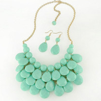 Anthropologie Inspired Statement Necklace, Chunky, Teardrop, Bib Necklace, Bubble Bib,  Mint, Aqua, Bridesmaids Gift, Mother's Day Gift,