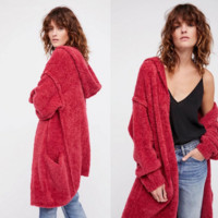 Women Solid Color Hooded Long Sleeve Cardigan Middle Long Section Knit Sweater Coat