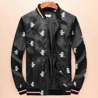 Moncler Fashion Women Men Print Black Cardigan Jacket Coat I-A00FS-GJ