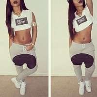 Print Shirt Top Tee Sweatpants Set Two-Piece Sportswear