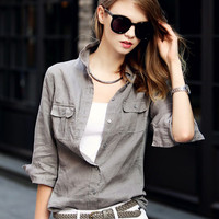 Gray Shirt Collar Pocket Button Long Sleeve Denim Blouse