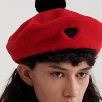 Lazy Oaf Red Faux Fur Beret