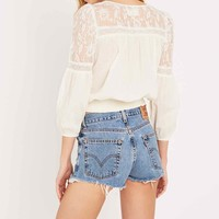 Denim & Supply Ralph Lauren Long Sleeve Lace Insert Blouse in Cream - Urban Outfitters