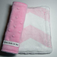 Car Seat Strap Covers - Pale Pink Chevron & Pink Double Minky Reversible
