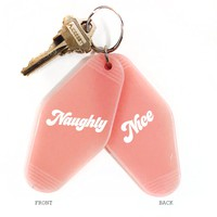 NAUGHTY/NICE DOUBLE-SIDED KEY TAG - PINK - THREE POTATO FOUR