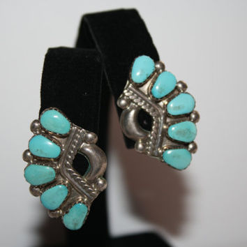 Beautiful Elegant Turquoise Vintage Clip-On Earrings Sterling Silver Signed LH  - free ship US