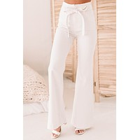 Regan High Waisted Belted Bell Bottoms (White)