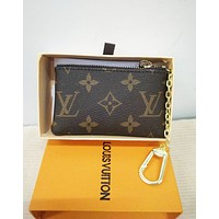 Louis Vuitton LV Classic Popular Retro Monogram Canvas PU Small Coin Purse Key Pouch I/A