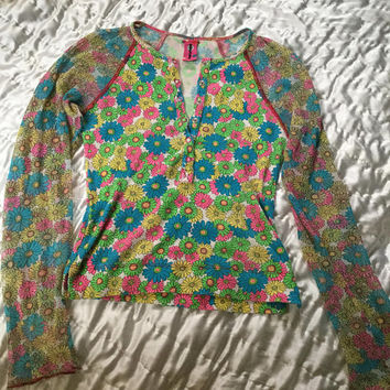 SALE 1990s acid flower power mesh long sleeve top size small