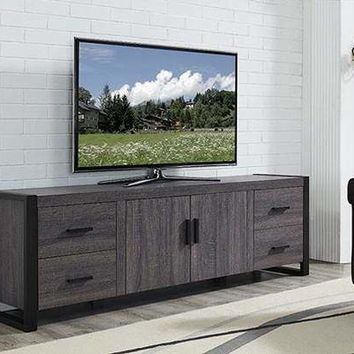 """70"""" Charcoal Grey Wood TV Stand Console by Walker Edison"""
