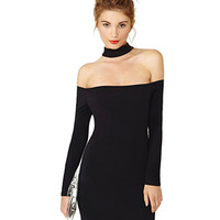 Off Shoulder Long Sleeve Bodycon Dress with Choker Detail