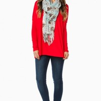 COZY LONG SLEEVE TOP IN RED BY PIKO