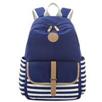 Navy Blue and White Striped Canvas Large Backpack Very Light Travel Bag School Bookbag Gift