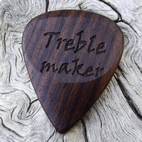 Handmade Mun Ebony Premium Wood Guitar Pick - Laser Engraved - Actual Pick Shown - Engraved Both Sides - Artisan Guitar Pick