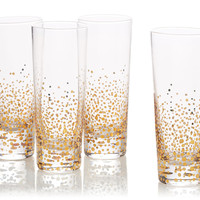 Gold-Leaf Bubble Cocktail Glasses, Set of 4, Tumblers, Water & Juice