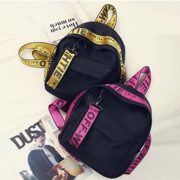 OFF-White New simple ribbon backpack fashion Oxford cloth backpack Yellow